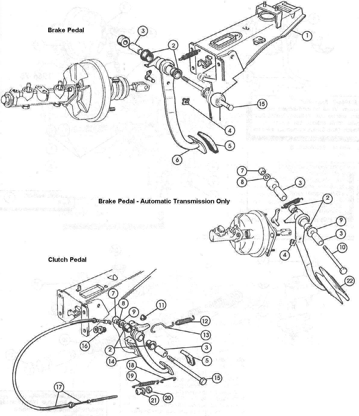 fiat 124 brake  u0026 clutch pedals