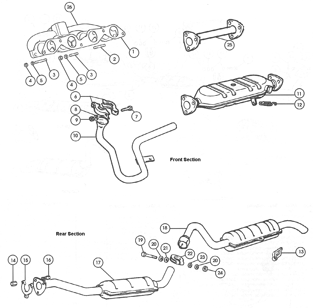Exhaust System – All 1976-78, 1975 Calif.