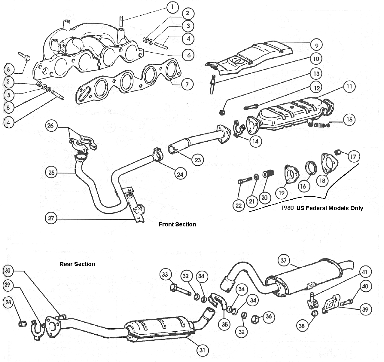 Exhaust System – Carburettor Models 1979-80