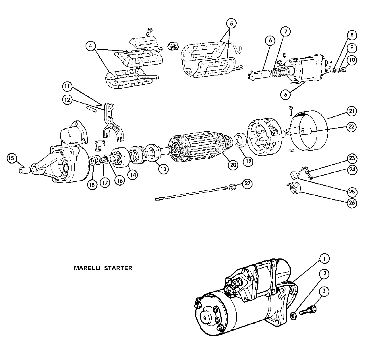 Fiat 124 Starter Motor 1966 85 Magneti Marelli 500 And Transmission Diagram Parts