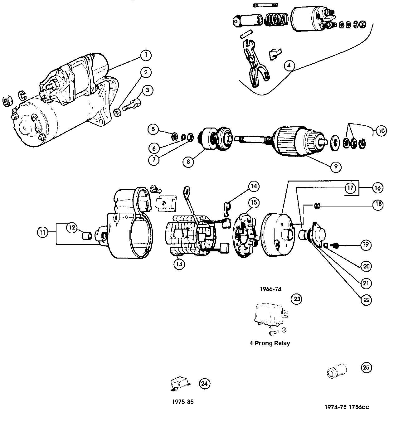 Fiat 124 Starter Motor Magneti Marelli No595702 500 And Fuel Pump Diagram