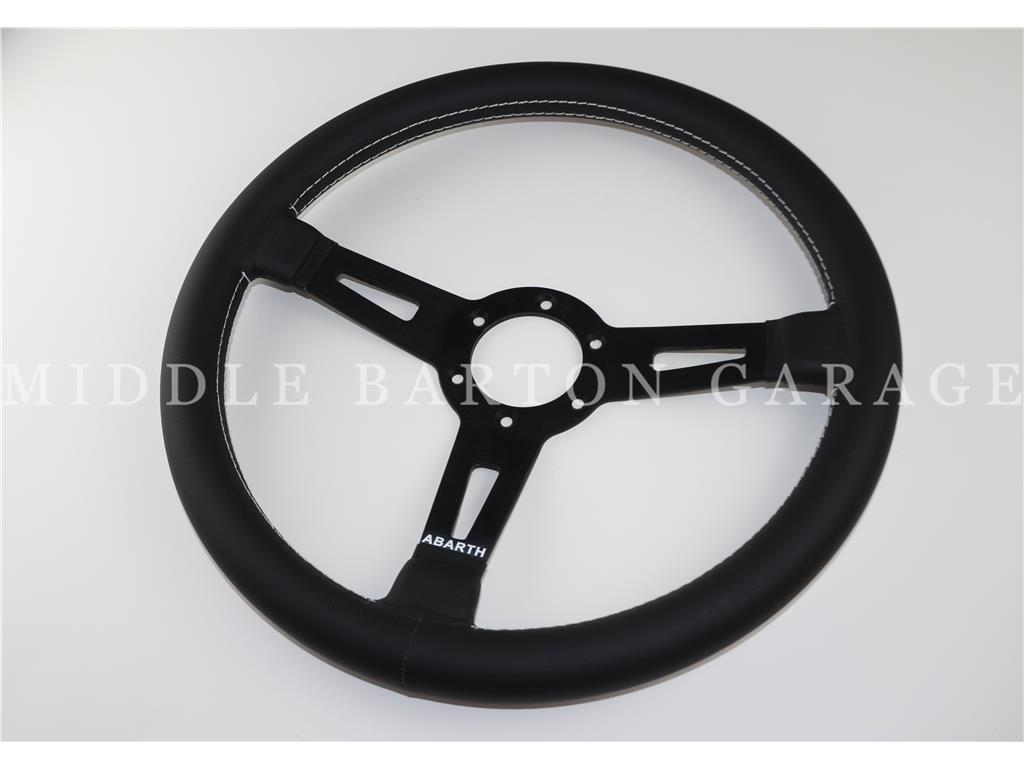 ABARTH LEATHER S/WHEEL BLACK SPOKES